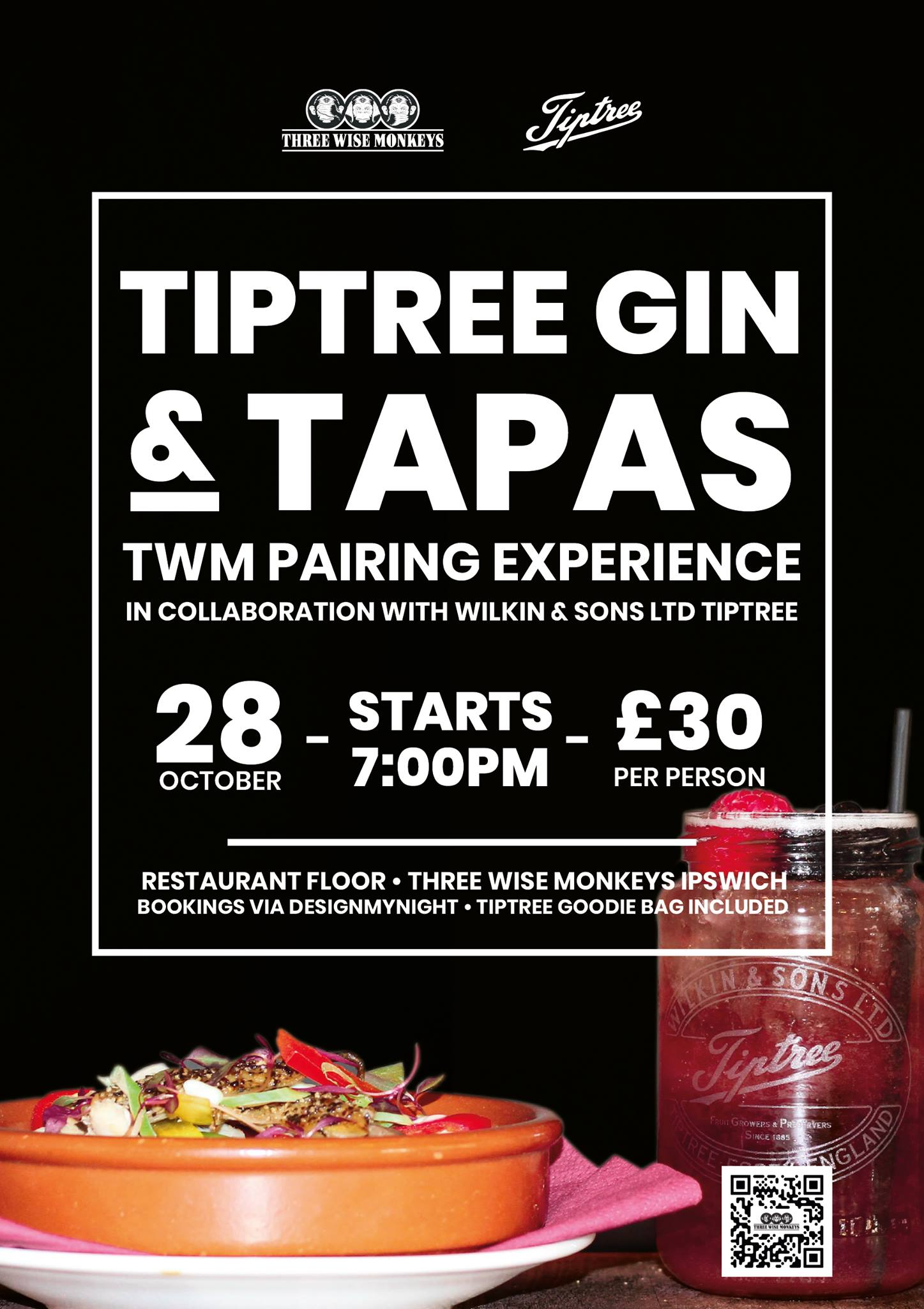 Tiptree Gin & Tapas Taster Night